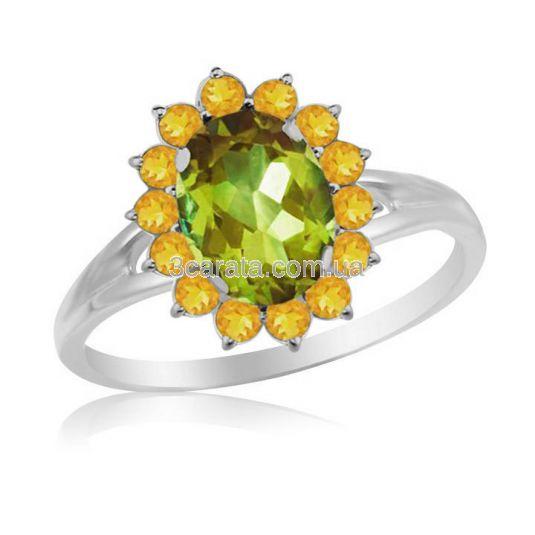 Кольцо с хризолитом и цитринами «Солнце»