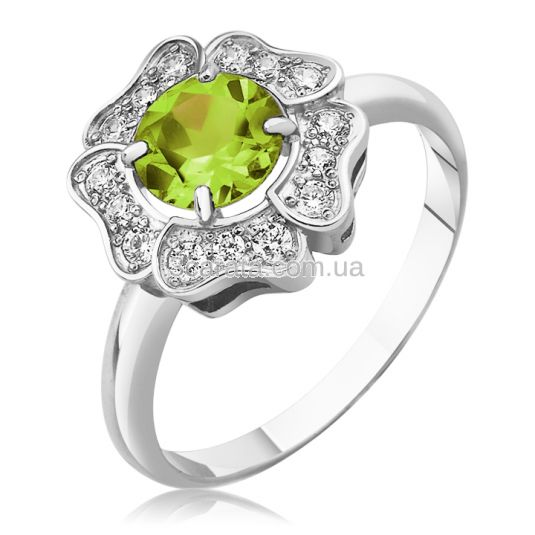 Золотое кольцо цветок с хризолитом «Flower»