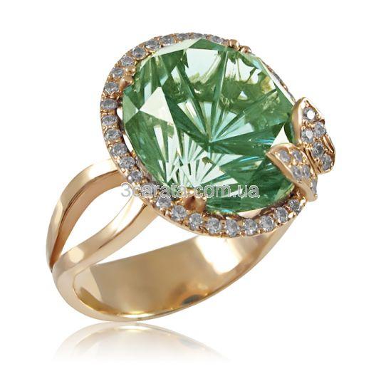 Золотой перстень с зеленым кварцем «Летняя ночь»