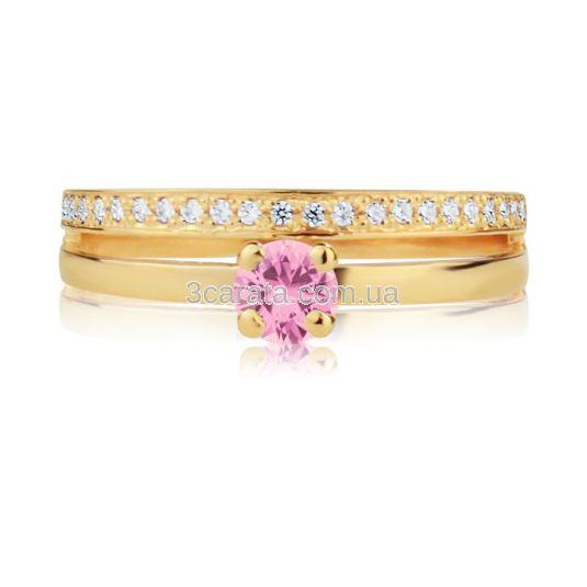Кольцо золотое два в одном с розовым сапфиром «Jamelia»