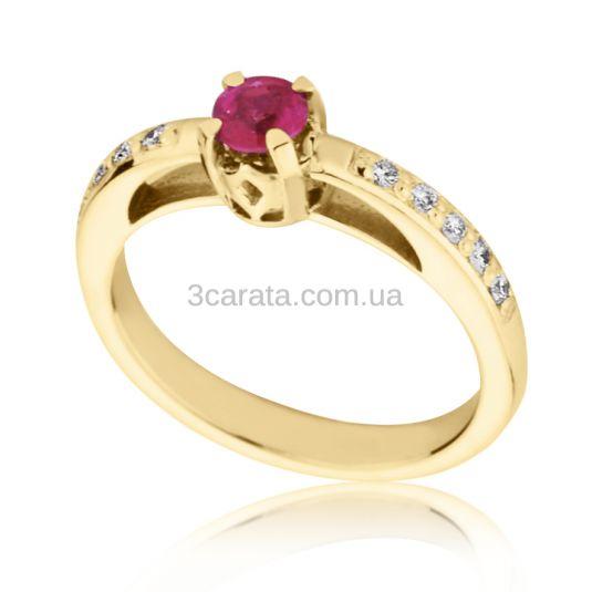 Золотое кольцо с рубином и бриллиантами «Твист»