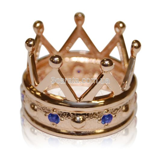 Золотое кольцо с сапфиром « Корона с сапфирами»