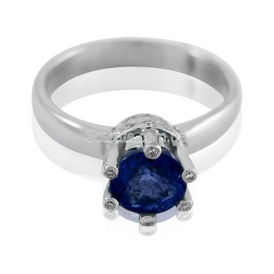 Золотое кольцо с сапфиром и бриллиантами «Царская корона»