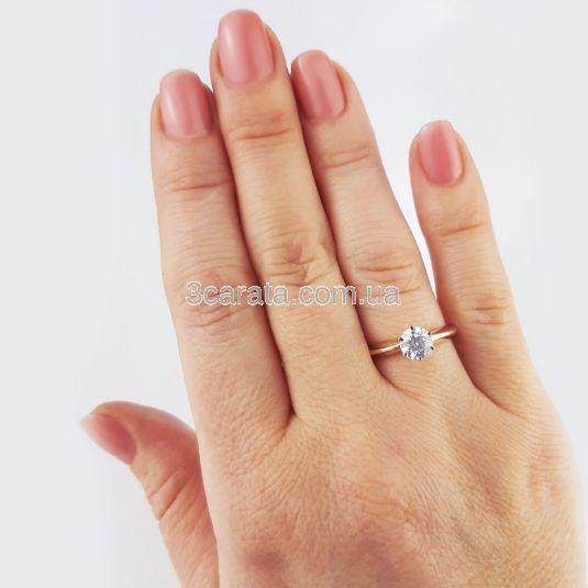 Кольцо золотое для помолвки с белым сапфиром «Элегия»