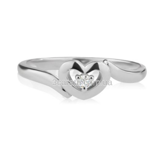 Кольцо в виде сердца из золота с бриллиантом «Мария-Антуанетта»