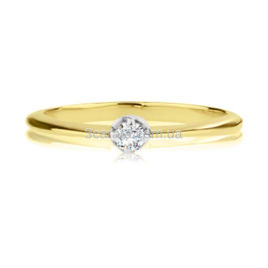 Кольцо золотое на помолвку с бриллиантом 0,06 Ct «Люблю»