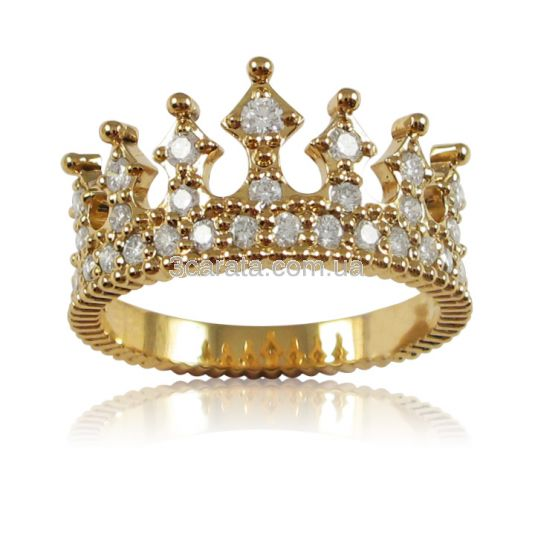 Золотое кольцо корона с россыпью бриллиантов «Crown»