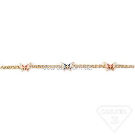 Золотое колье с  эмалью «Мотылек»