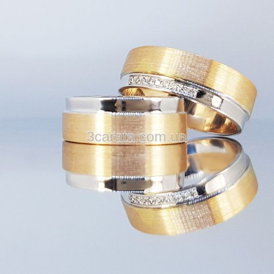 Золотое обручальное кольцо ручной работы «Праздник любви»