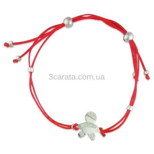Золотой браслет для мамы «Малыш» с красной нитью