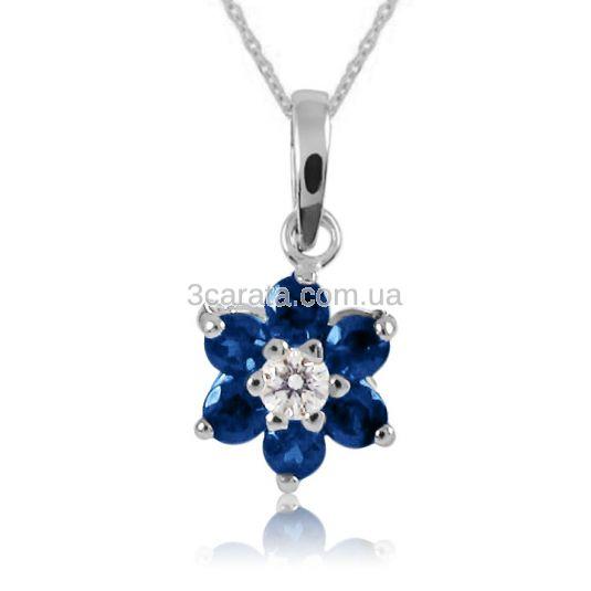 Кулон с сапфирами и бриллиантом «Аленький цветочек»