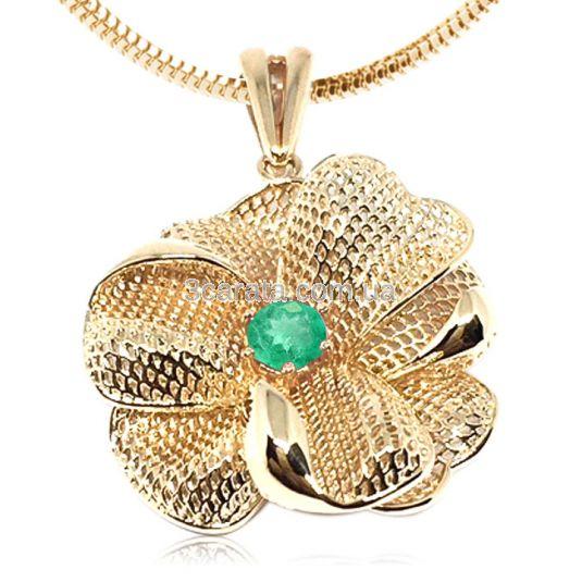 Золотой кулон - цветок с изумрудом «Мирабилис»