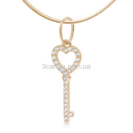 Золотой кулон с цирконием «Ключ сердца»