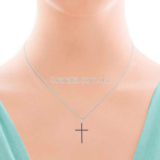 Кулон крестик с сапфирами «Renaissance»