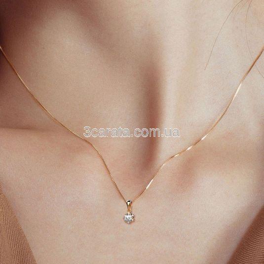 Золотой кулон c россыпью бриллиантов «Floraison»