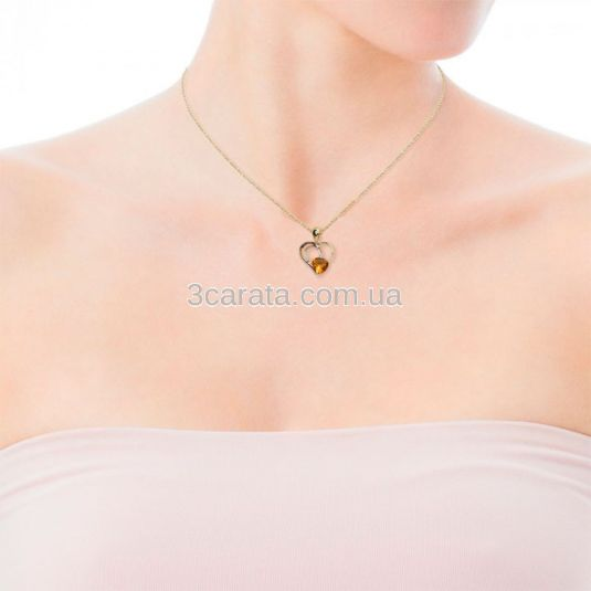 Золотая подвеска сердце с цитрином «Сердце Заката»