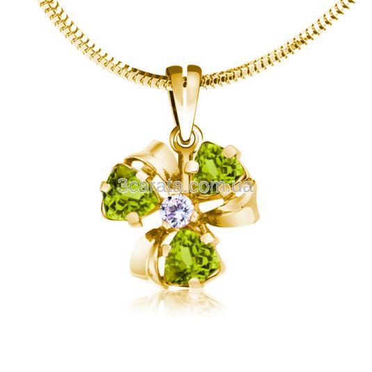 Золотой кулон цветок с хризолитами «Viola»