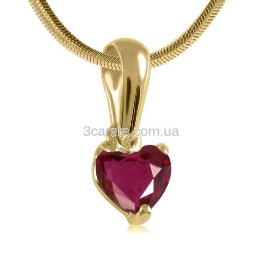 Золотой кулон с рубином сердцем «Esmeralda»