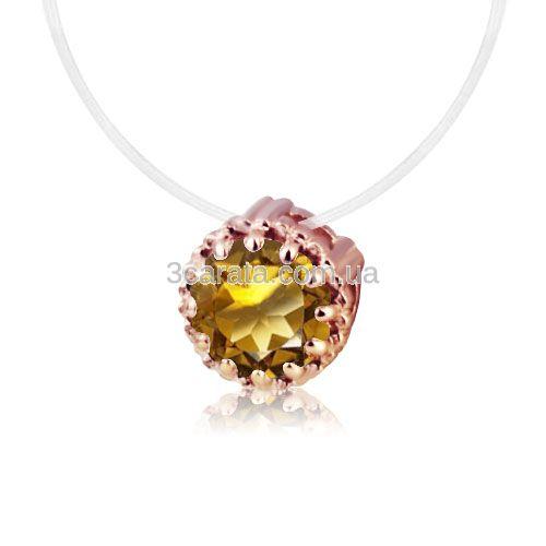 Золотая подвеска с цитрином «Бриллиант на леске»