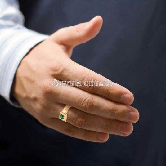 Мужской перстень с гидротермальным изумрудом «Business»