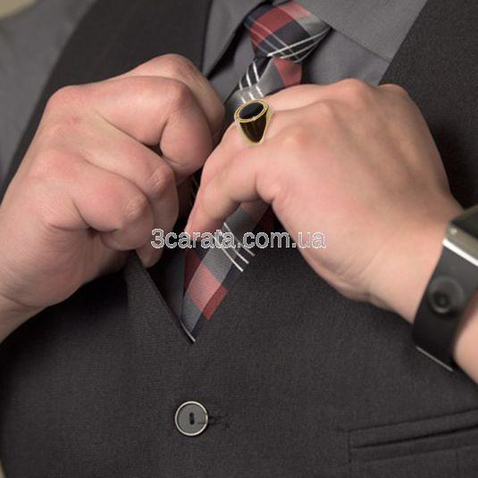 Золотой мужской перстень с ониксом «Гэндальф»
