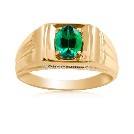 Золотой перстень с гидроизумрудом «BOSS»
