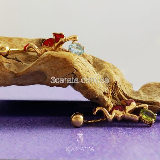 Золотой пирсинг с топазом «Котик»