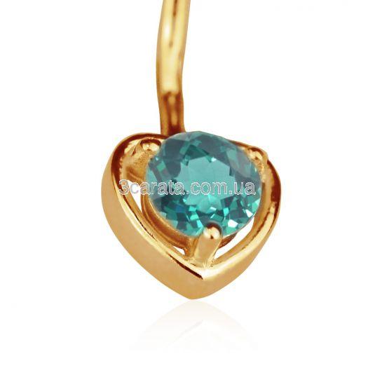 Серьга в пупок в виде сердечка с гидротермальным изумрудом «Preferita»