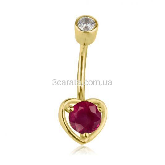 Серьга в пупок в виде сердечка с рубином «Preferita»