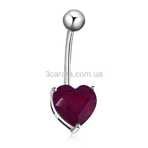 Золотой пирсинг в пупок с рубином «Сердце»