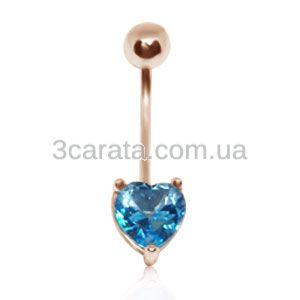 Золотой пирсинг в пупок с топазом «Сердце»