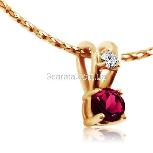 Золотая подвеска с рубином и бриллиантом «Ягодка»