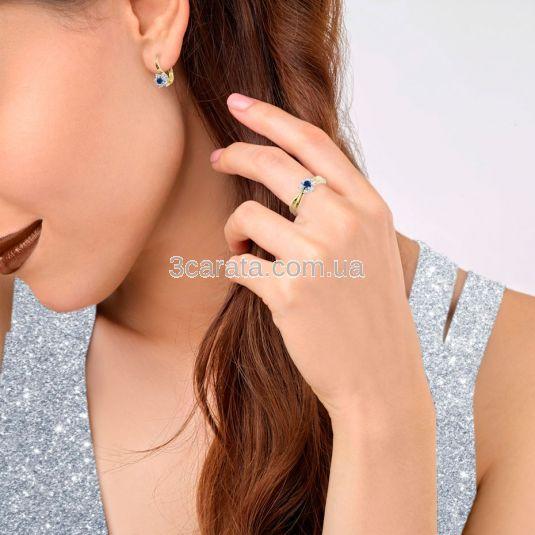 Золотой комплект с сапфиром и бриллиантами «Франсуаза»