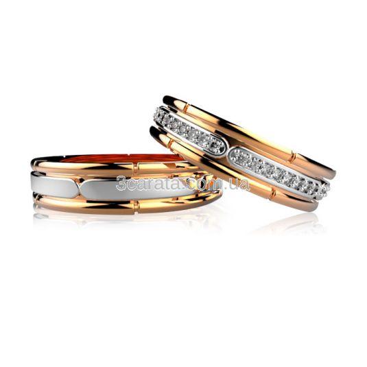 Обручальное кольцо с дорожкой циркония «Amoureux»