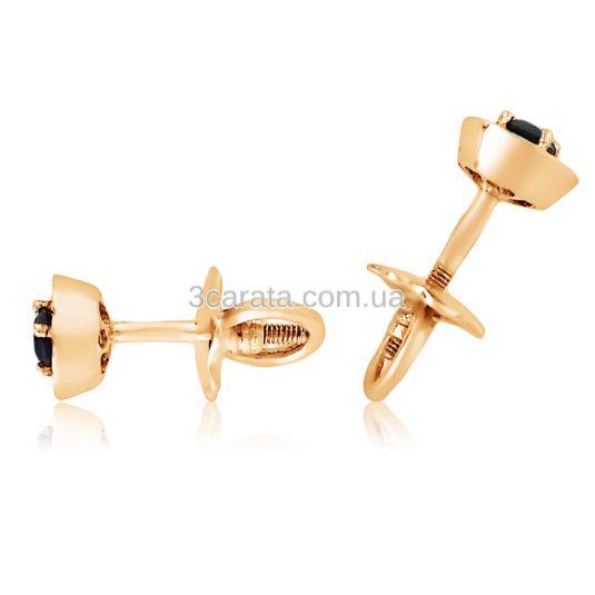 Золотые пусеты с сапфирами и бриллиантами «Гиза»
