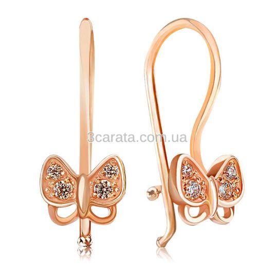 Золотые детские сережки «Маленькие бабочки»