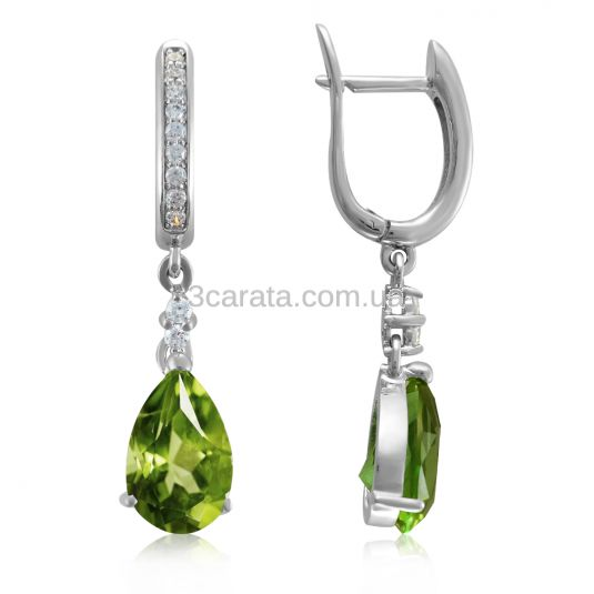 Эксклюзивные сережки-подвески с хризолитами «Magnifica donna»