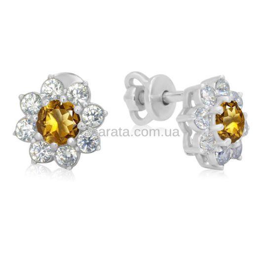 Золотые серьги цветок с цитрином «Bloom»