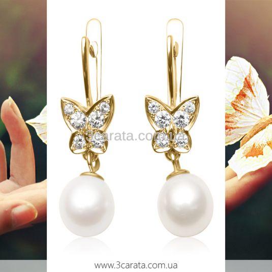 Золотые серьги мотыльки с бриллиантами и жемчугом «Butterfly»