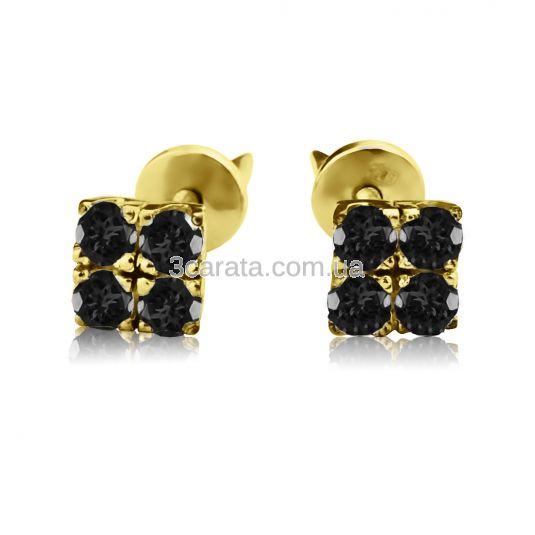 Золотые серьги гвоздики с черными бриллиантами «Сила Четырех»