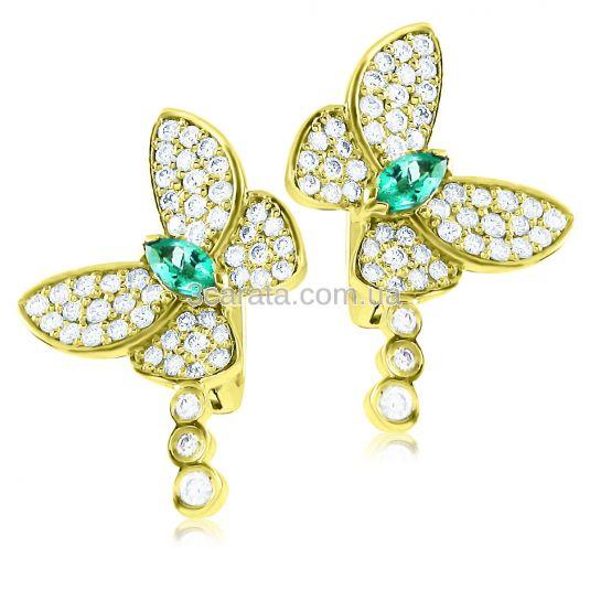 Золотые серьги с изумрудами и бриллиантами «Райские бабочки»