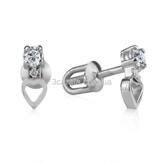 Пусеты с золотым сердечком и бриллиантами «Верность»