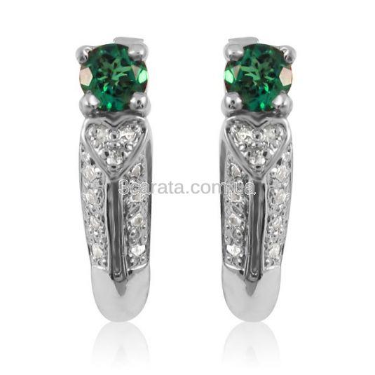 Золотые серьги с бриллиантами и изумрудами «Белое сердце»