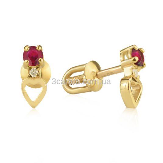 Пусеты с золотым сердечком и рубином «Верность»