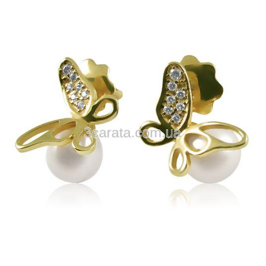 Золотые серьги пусеты «Жемчужные бабочки»