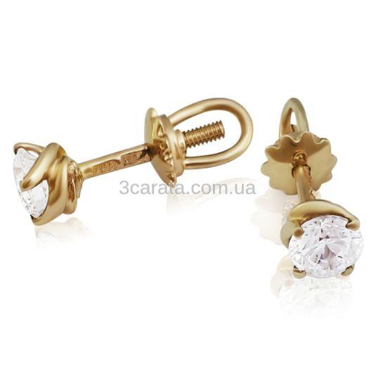 Золотые серьги пусеты с Сваровски «Mila»