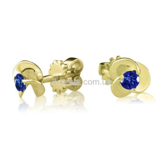 Гвоздики из золота 585 с сапфирами
