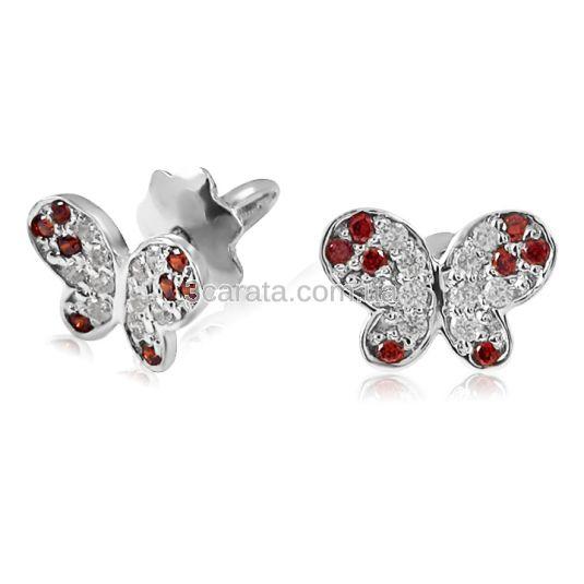 Золотые серьги-пусеты с гранатами и фианитами «Нежные бабочки»