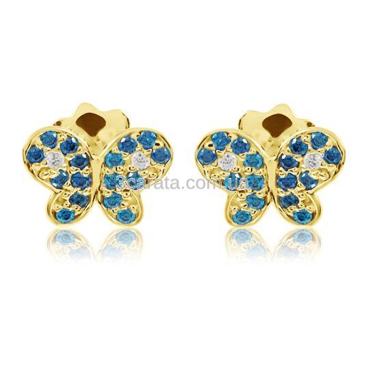 Золотые пусеты с сапфирами и бриллиантами «Нежные бабочки»