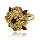 Золотое кольцо с гранатом и  цитрином «Итала Филини»